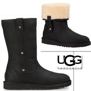 UGG MALINDI BLACK SUEDE LEATHER FOLD DOWN BOOTS 9